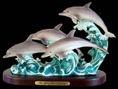 Dolphin Family on Wooden Base Sculpture