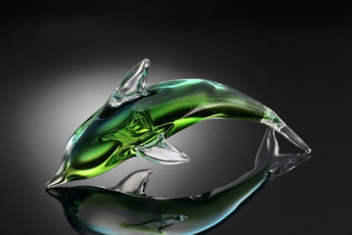 Art Glass Green Dolphin Sculpture