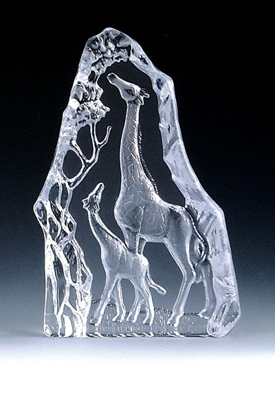 Mother & Baby Giraffe Leaded Crystal Sculpture