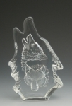 Two Wolves Leaded Crystal Sculpture