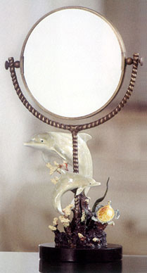 Imperial Dolphin & Sea Turtle Table Mirror