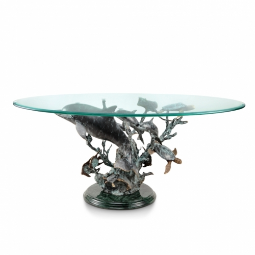 Fine Art Dolphin, Sea Turtle and Sea Life Coffee Table
