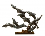 Art Finish School of 13 Dolphins Sculpture