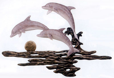 Joyfull Family Dolphins Wall Sculpture