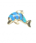 Gold Diving Dolphin Pendant