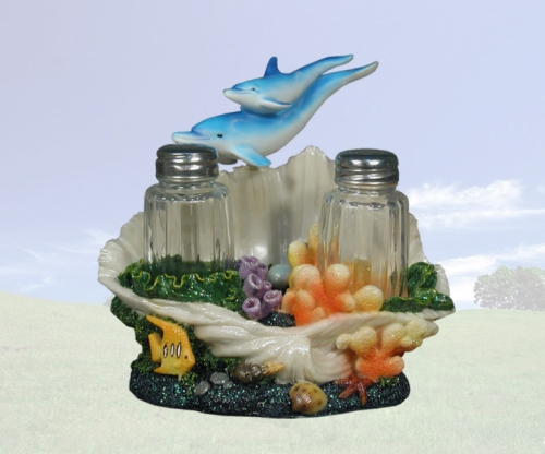 """Sea Savor"" Dolphin Salt & Pepper Holder"