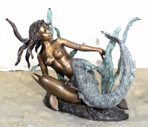 Mermaid with Dolphin Table Base