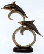 Bronze Coated Double Dolphins on Wave Sculpture