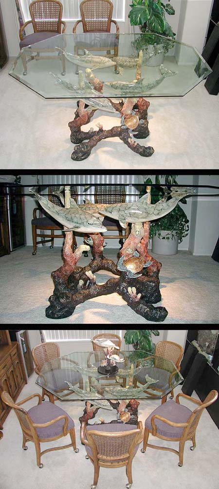"""LIMITED EDITION""Bronze Dolphin Dining Table"