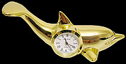 24kt Gold Plated Over Solid Alloy Dolphin Clock