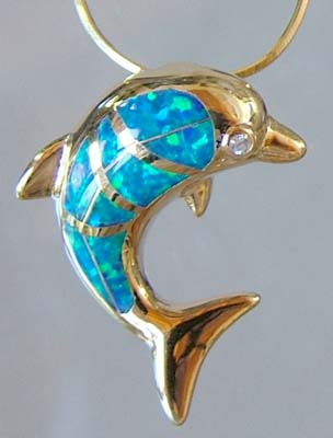18K Gold with Opal Dolphin Neckless Pendant