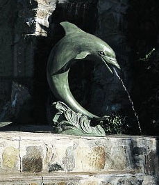 Single Verdigris Patina Dolphin Fountain (Large)