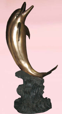 """Life-Size"" Bronze Dolphin Water Fountain"