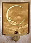 """Lithophane"" Translucent Porcelain Mermaid & Moon Night Light Hand Crafted in the U.S.A. Artist: David Delamare"
