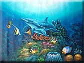Mother & Baby Dolphin Oil Painting