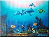 Trio Dolphins & Sea Turtle Oil Painting
