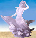 Mermaid Riding Dolphin Lucite Sculpture